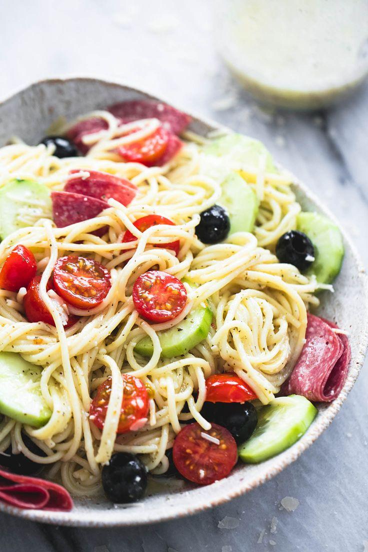 Creamy Italian Spaghetti Pasta Salad | Creme de la Crumb | Bloglovin'