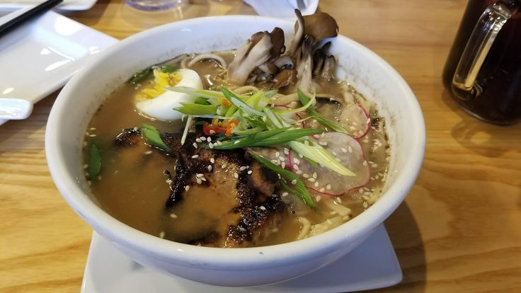 [I Ate] Char Sui Noodle Bowl Cantonese barbecued pork brown rice miso and beef broth with mushrooms radish sprouts Canton noodles and hard boiled egg