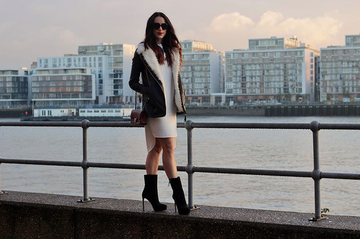 River Island leather coat with fur, white shift dress topshop, high black boots, uk fashion blogger, CopyKitty