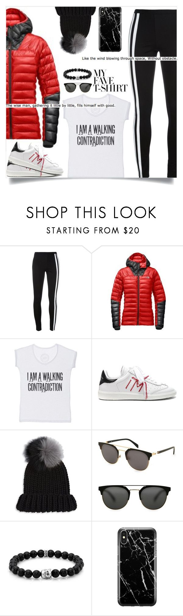 """""""Dress Up a T-Shirt"""" by tina-abbara ❤ liked on Polyvore featuring Y-3, The North Face, The Vintees T-Shirts Co., Isabel Marant, Eugenia Kim, Balmain, Room101 and Recover"""