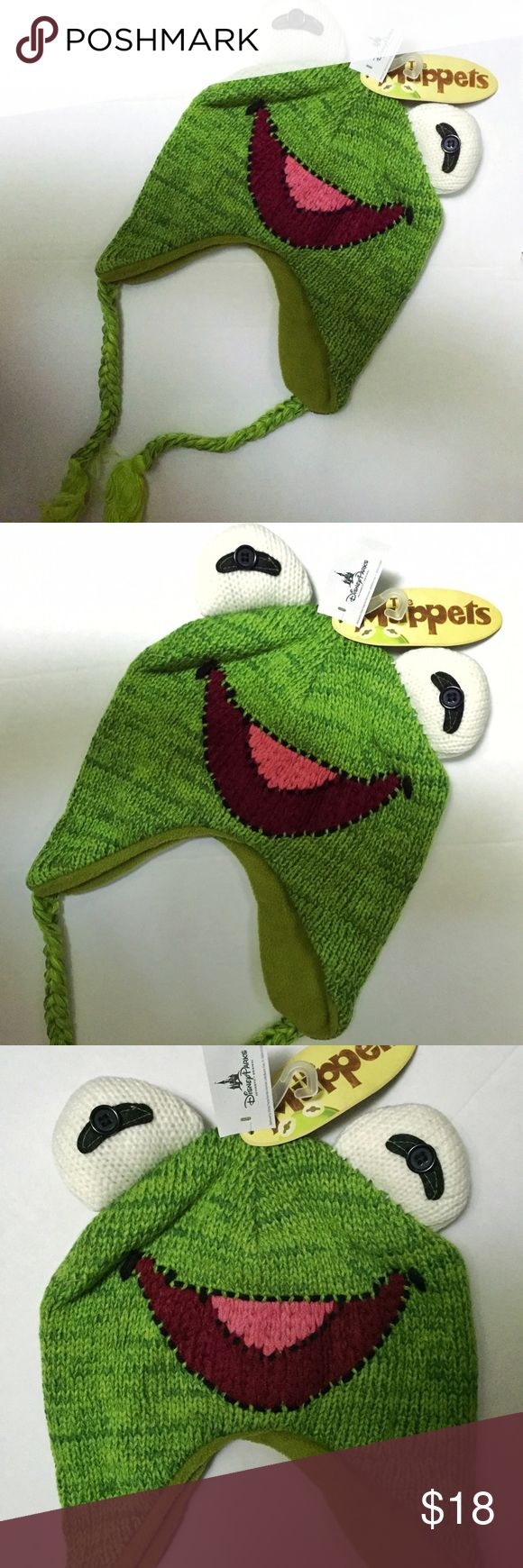 Disney The Muppets Kermit the Frog Laplander Hat Brand new with tags, adult sized, one size fits most. This Disney The Muppets Kermit the Frog Knit Laplander Beanie Hat would be a great simple costume idea! Perfect for any Kermit the Frog fan! Very high quality knit laplander but pop out button eyes! Official Disney Parks item! Disney Accessories Hats