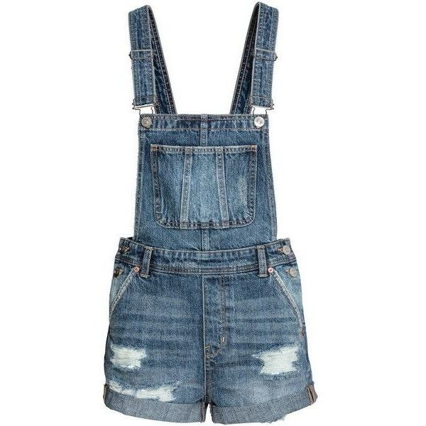 Denim Bib Overall Shorts $39.99 ❤ liked on Polyvore featuring shorts, overall shorts, bib overalls shorts, distressed denim shorts, short shorts and short overalls