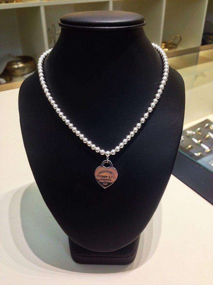 """Collana Tiffany a palline con ciondolo cuore """"Return to Tiffany"""", in argento 925.prezzo da outlet - Orolive la gioielleria dell'occasione"""