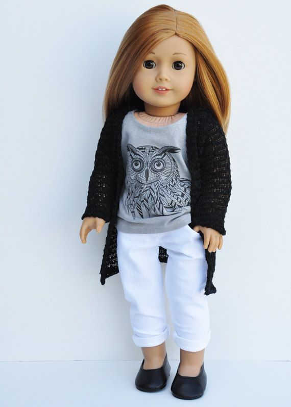 Cardigan Wrap Black ($14), Graphic Owl Tank ($8) and White Jeans ($16) - Separates by LoriLizGirlsandDolls on Etsy