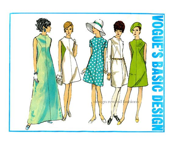 1960s MOD DRESS PATTERN Vogue Basic Design 1944 A-Line, Seam Detail Evening Cocktail Maxi Dresses by DesignRewindFashions - Vintage & Modern Sewing Patterns