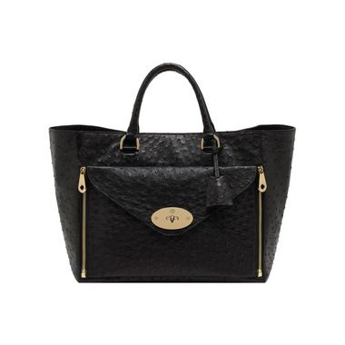 New Willow Colours - Mulberry - Willow Tote in Black Ostrich With Soft Gold