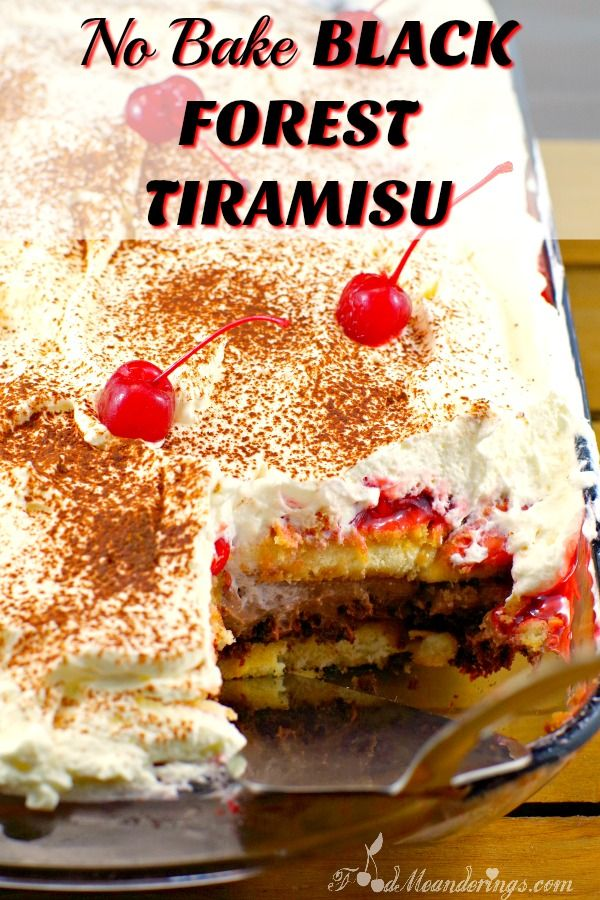 This black forest tiramisu is a combination of my family's favorite black forest trifle and tiramisu. It is a scrumptious and  easy tiramisu dessert with no baking for potlucks or BBQ's.#tiramisu #dessert #dessertrecipes #blackforest #potluck #nobake