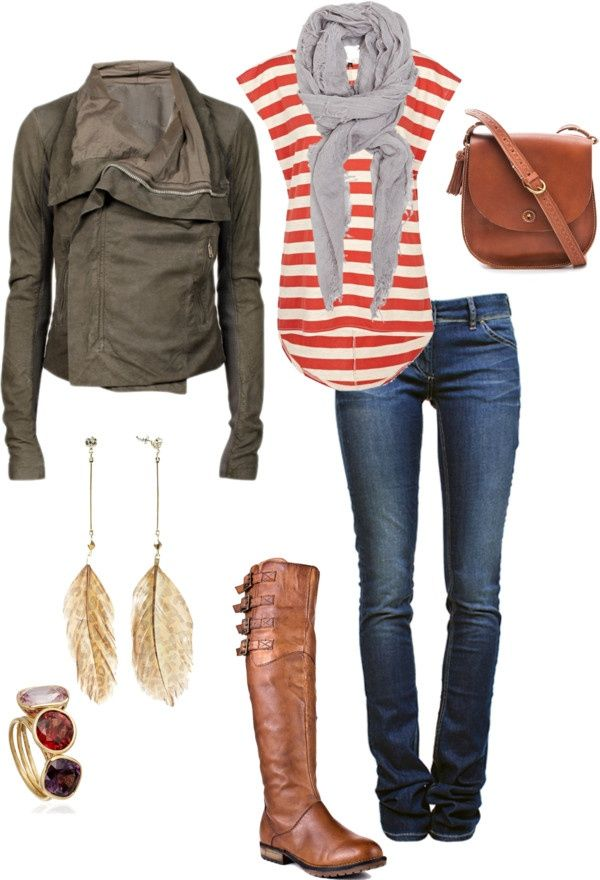 Fall...love the jacket: Dreams Closet, Red Stripes, Style, Fall Looks, Fall Outfits, Leather Jackets, Fall Fashion, Casual Outfits, Boots