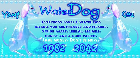 1982 2042 Chinese zodiac Water Dog by Valxart  Valxart has art for 60 years of the Chinese zodiac and available on cards, framed art and prints and shirts on redbubble. If you do not see desired product or products email info@valxart.com . See and follow valxart on pinterest at valxart.com  We also have all years of Chinese zodiac combined with western astrology sign and horoscope forecast.