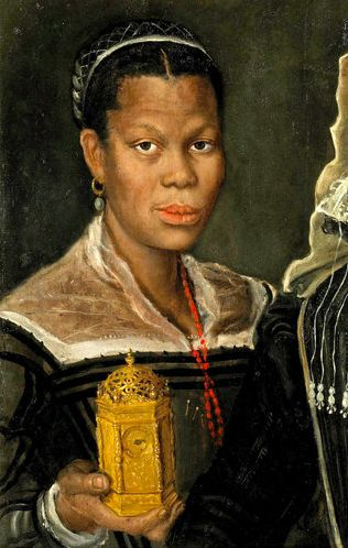 """This portrait of an African slave was painted during the 1580s. Tiny pins in the front of the subject's dress indicate that she was a dressmaker. The original painting was likely damaged, leaving the master cut out of the picture and the slave now framed as its primary subject. """"Portrait of an African Slave Woman,"""" Annibale Carracci (attributed), Tomasso Brothers, Leeds. Pinned from ART 