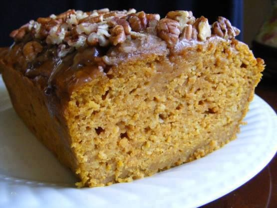 INGREDIENTS: 1 cup brown sugar 2 eggs 1⁄2 cup vegetable oil 1⁄3 cup water 1 (15 ounce) pumpkin puree 1 3⁄4 cups plain flour 1 teaspoon baking soda 1⁄2 teaspoon baking powder 1 teaspoon salt 1⁄4 teaspoon nutmeg 1 teaspoon cinnamon 1 teaspoon pumpkin pie spice TOPPING: 1 tablespoon