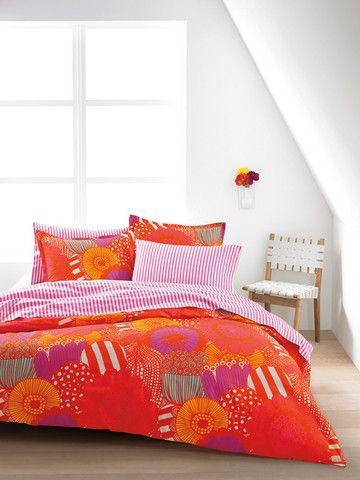 marimekko us sized bedding orangepink kiitos marimekko
