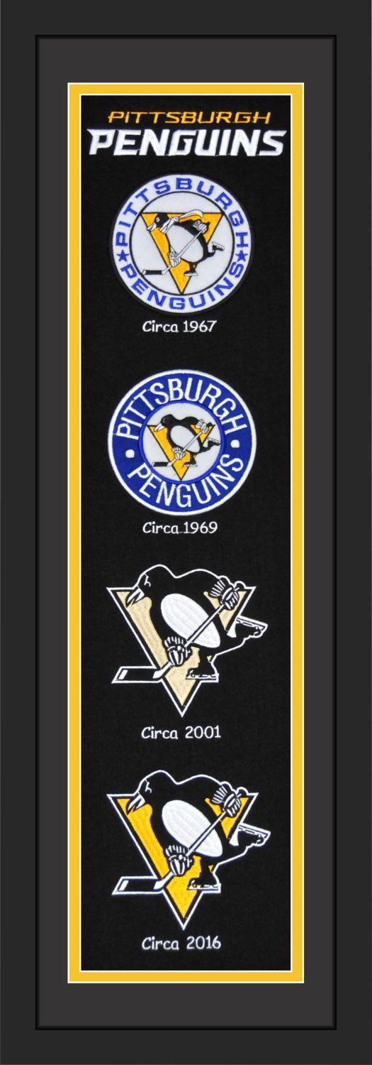 """#Pittsburgh #Penguins NHL Framed Heritage Banner #NHL Matted and Framed. The Heritage Banner captures the logos of the Pittsburgh Penguins throughout their history. Wool Blend with Embroidered Logos and Lettering. A truly timeless addition to any #hockey enthusiasts room. 36"""" Long X 12"""" Wide. Officially Licensed By The National Hockey League By Station Bay"""