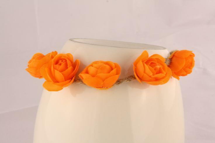 Orange Floral Head Piece
