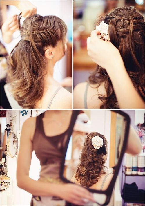 neat idea ... love the flower, or could add a jeweled barrette instead