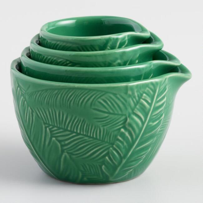 Green Botanical Print Ceramic Nesting Measuring Cup Set