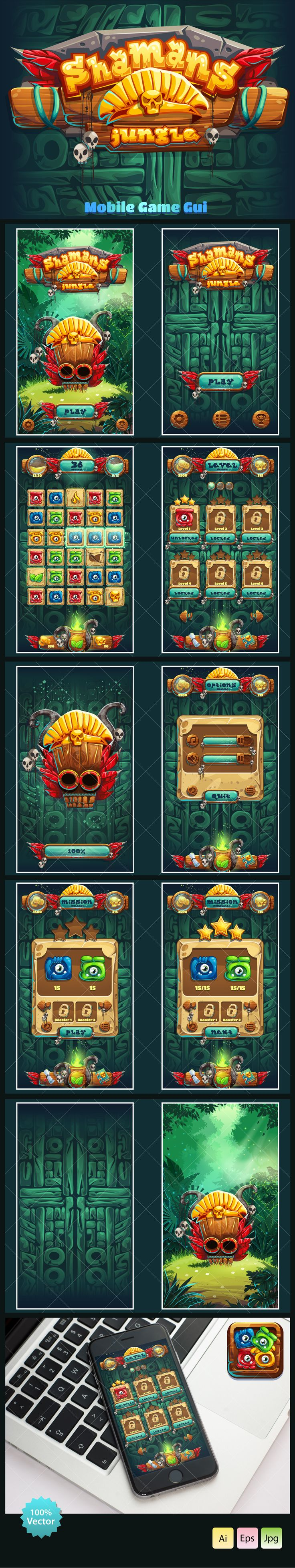 Jungle Shamans Mobile GUI on Behance