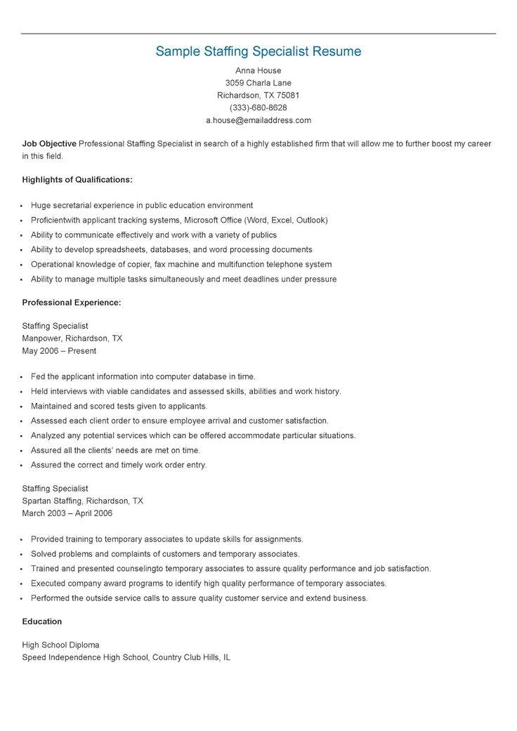 sample staffing specialist resume 16 - Staffing Specialist Resume