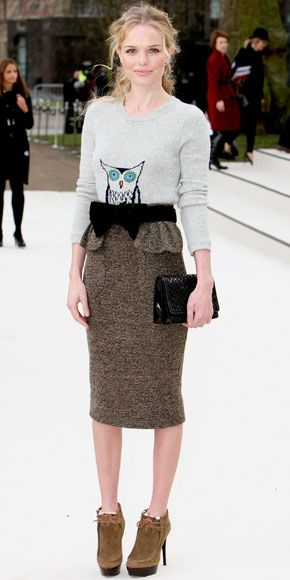 QuirkyFashion Weeks, Kate Bostworth, Owls Sweaters, Kate Bosworth, Burberry Prorsum, Pencil Skirts, London Fashion, Trendsetter Kate, Peplum Skirts