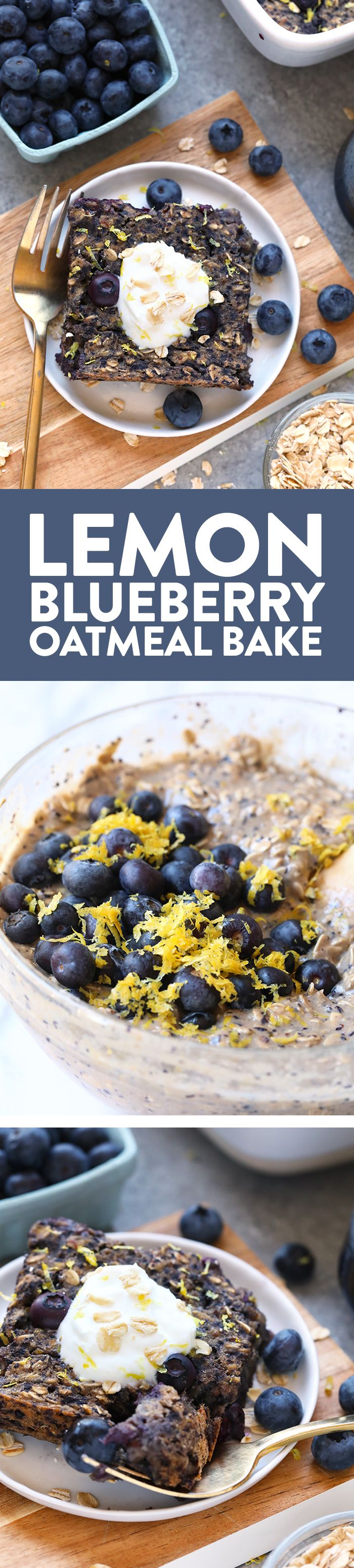 This delicious lemon blueberry baked oatmeal recipe screams spring with the combination of fresh blueberries and lemon zest. This delicious vegan oatmeal bake is made in under an hour and has 100% whole grains and no r