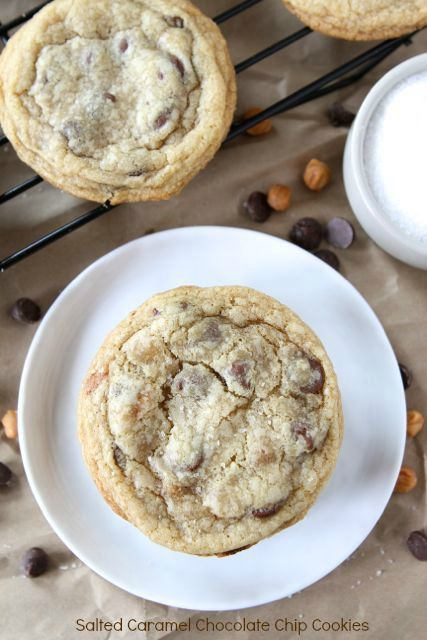 Salted Caramel Chocolate Chip Cookies on twopeasandtheirpod.com Everyone will beg you for this recipe!