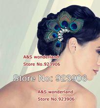 pauwenveer haarstukje hoofddeksels bruids haar accessoire haarklem haar tovenaar(China (Mainland))