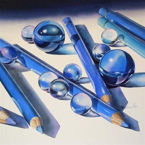 """BLUES FESTIVAL watercolor still life painting"" - Original Fine Art for Sale - © Barbara Fox"