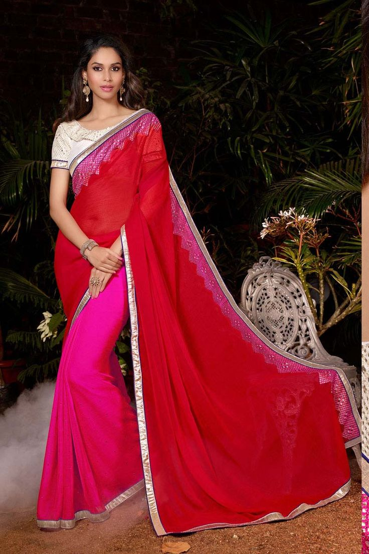 Buy Red  Chiffon Designer Saree Online in low price at Variation. Huge collection of Designer Sarees for Wedding. #designer #designersarees #sarees #onlineshopping #latest #lowprice #variation. To see more - https://www.variationfashion.com/collections/designer-sarees