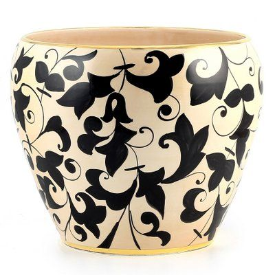 IMPERIAL: Cachepot vase with pure 24 Carats gloss gold rim (Lg)