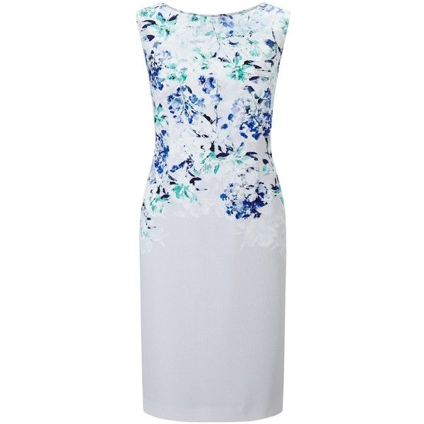 Jacques Vert Falling Bloom Dress, Multi Blue (£49) ❤ liked on Polyvore featuring dresses, floral print maxi dress, maxi dresses, floral maxi dress, petite evening dresses and long-sleeve midi dresses