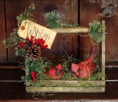 Primitives!  Christmas Winter Handcrafted Cardinal Gathering in a wood tool carrier $19 www.finecountrylivingprimitives.com