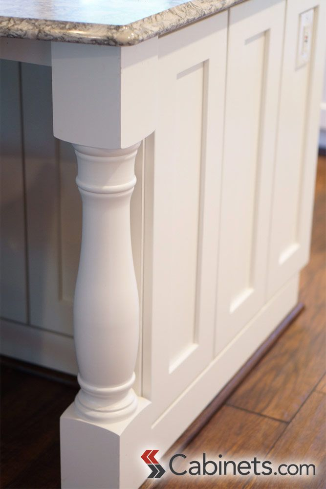 Decorative Leg On A Kitchen Island That Matches The White