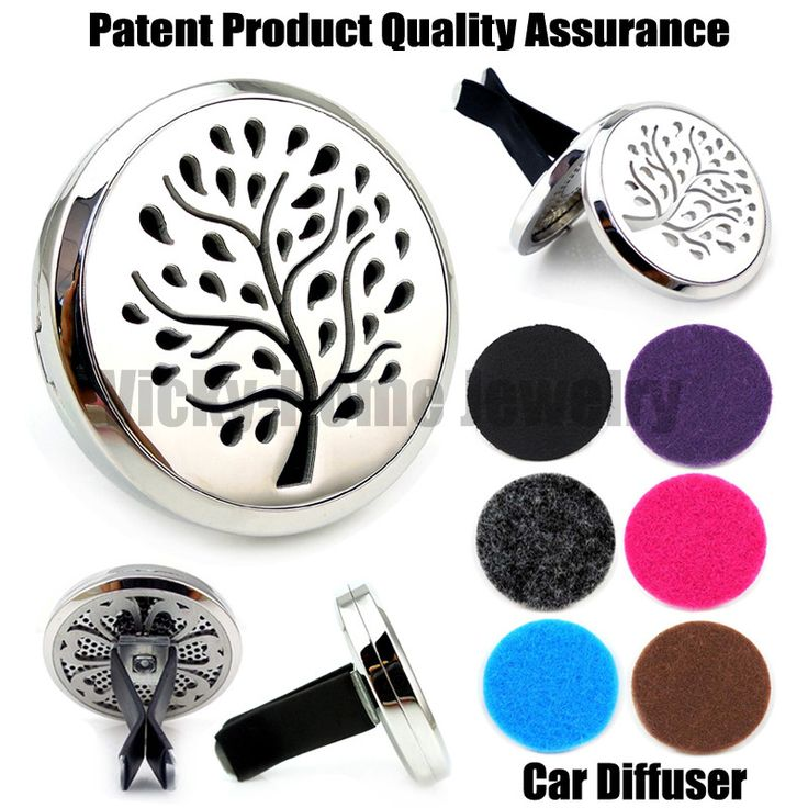 Silver Tree (38mm) Magnet Diffuser 316 Stainless Steel Car Aroma Locket Free Pads Essential Oil Car Diffuser