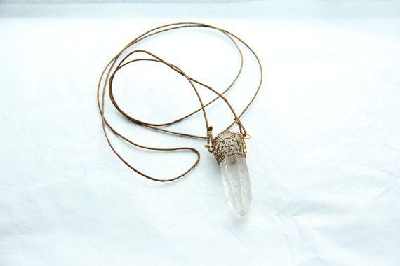 Wire woven Clear Quartz crystal necklace by Somsri on Etsy, $40.00 #Jewelry #Necklace #Stone #Crystal #Jewellery #Handmade #Handmadejewelry #Handmadejewellery #Gemstone #Pendant #Wirewrapped #Clearquartz #Quartz #Somsri  #Rockquartz
