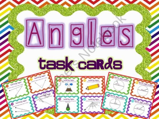Teachers Notebook-A full set of 56 fun and engaging task cards for Common Core Angles Standards.  Cards Include:   Identifying Angles Measuring Angles Drawing Angles Comparing Angles Additive Angle Measures