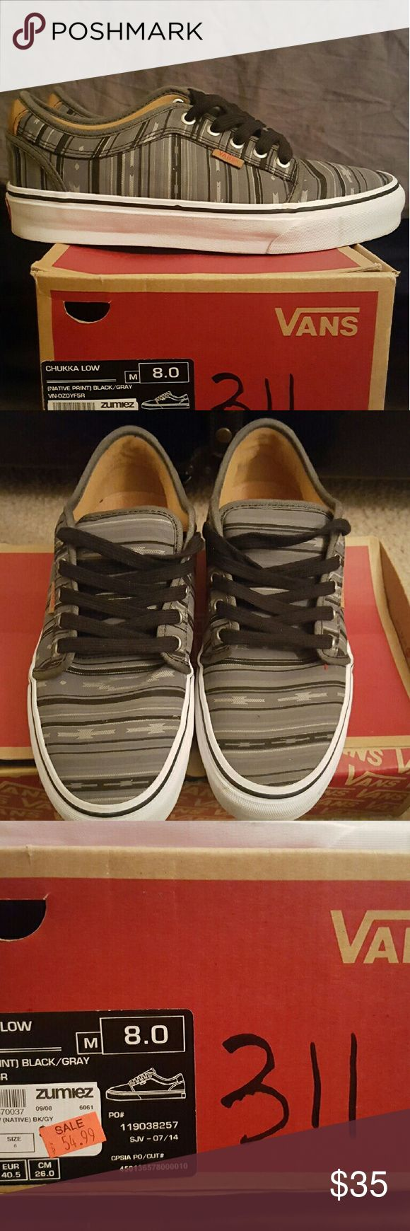 Vans Chukka Low Mens Shoes Size 8 Vans CHUKKA LOW  (Native Print) Black/Gray men's shoes. Size 8.  Work only once and come on the original box. Vans Shoes Sneakers