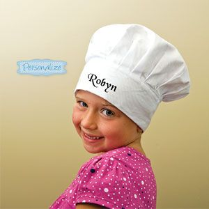 """Product # PS8103 - Honour the budding chef in your family with his or her own official Chef's Hat. Personalize this culinary classic with name or title on the front for a fun and unique gift. Machine washable. Adjustable velcro closure. 100% cotton. Personalization: 1 line, up to 15 characters. 8""""H x 5""""Diam. - 7-1/2""""Diam.  $17.98"""