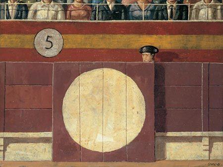 Domenico Gnoli (1933-1970), Palma de Mallorca – An Afternoon at the Bulls, Torero behind a Balustrade, 1966, acrílico sobre seda y tabla, 22 x 39 cm