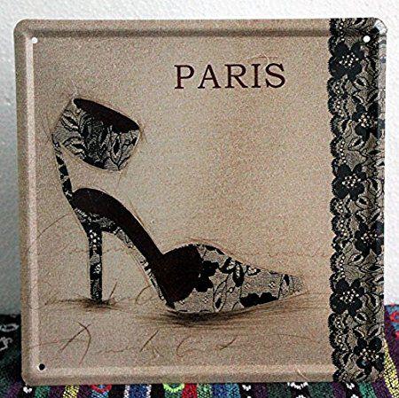 """Antico merletto scarpe"""" wall art decorazione in ferro stagno metallico segni dei mestieri Vintage wall arte pittura bar casa decor caffè 20*20 cm"""