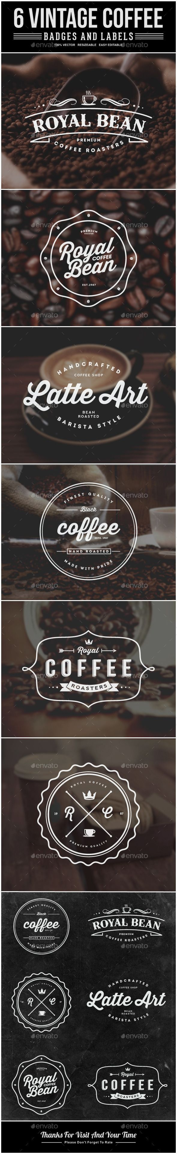 6 Vintage Coffee Labels and Badges - Badges & Stickers Web Elements