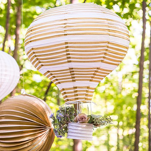 Hot Air Balloon Paper Lantern Set in Gold and White - The Knot Shop