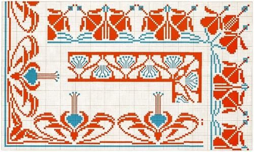 Corner 23 | Free chart for cross-stitch, filet crochet | Chart for pattern - Gráfico