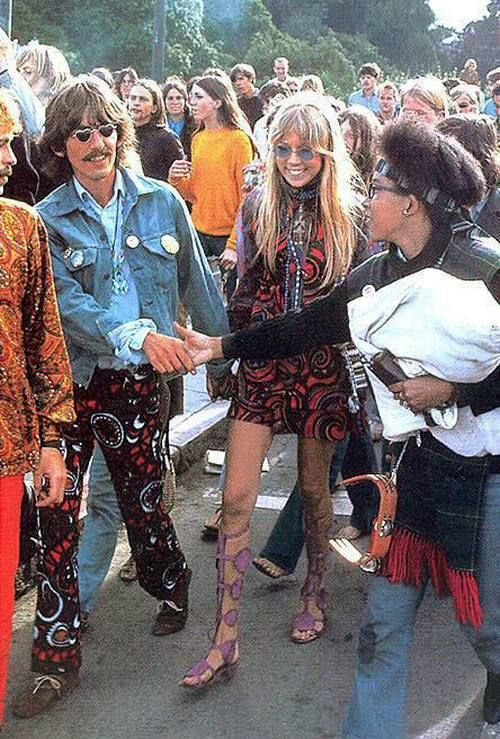 George Harrison and Pattie Boyd  - PEACE OUT DUDE    check out their duds!  LOL