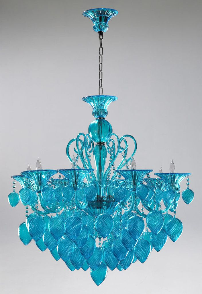 aqua chandelier _ bella vetro 8 light chianti chandelier _ 240700 _ a splash of color - Turquoise Chandelier Light