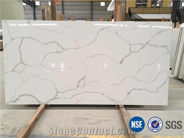 a quality calacatta white marble look quartz stone solid surfaces polished slabs tiles engineered stone - Stone Slab Hotel 2015