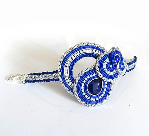 Unique cobalt blue Soutache Cuff Bracelet Unique by sutaszula