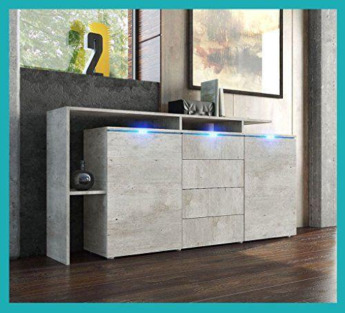 Credenza moderna modello Lecce, madia per soggiorno finitura in calcestruzzo.