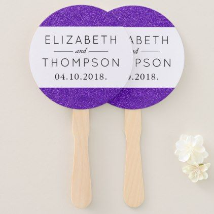 Wedding - Shiny Glitter Shimmer - Purple Hand Fan - glitter glamour brilliance sparkle design idea diy elegant