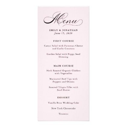 #Refined | Calligraphy on Blush Pink Menu - #wedding gifts #marriage love couples