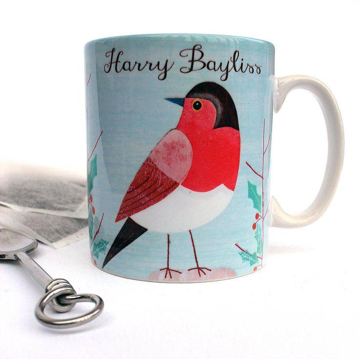 personalised christmas robin mug by lovehart | notonthehighstreet.com